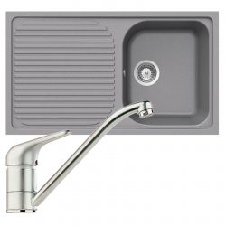 Schock Lithos D100 1.0 Bowl Grey Granite Kitchen Sink & Clearwater Creta Tap