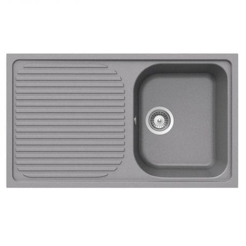Schock Lithos D100 1.0 Bowl Grey Granite Kitchen Sink & Clearwater Creta Tap