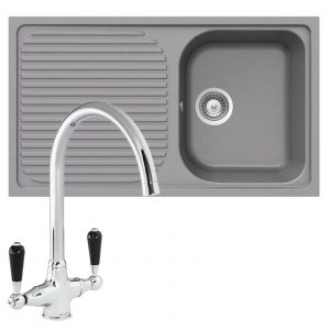 Schock Lithos D100 1.0 Bowl Grey Granite Kitchen Sink & Reginox Brooklyn Tap