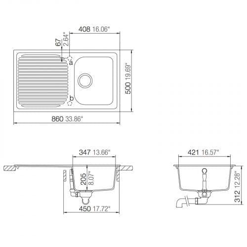 Schock Lithos D100 1.0 Bowl Grey Granite Kitchen Sink & Reginox Brooklyn Tap