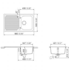 Schock Lithos D100 1.0 Bowl Grey Granite Kitchen Sink & Astracast TP0800 Tap
