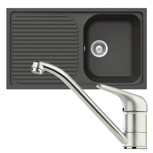 Schock Lithos D100 1.0 Bowl Nero Black Granite Sink & Clearwater Creta Tap