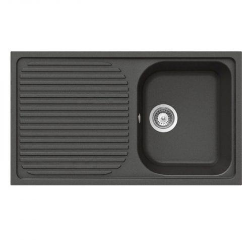 Schock Lithos D100 1.0 Bowl Nero Black Granite Sink & Clearwater Creta Tap