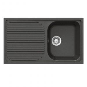 Schock Lithos D100 1.0 Bowl Nero Black Granite Sink & Reginox Astoria Mixer Tap