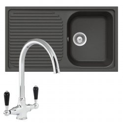 Schock Lithos D100 1.0 Bowl Nero Black Granite Sink & Reginox Brooklyn Mixer Tap