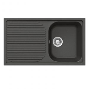 Schock Lithos D100 1.0 Bowl Nero Black Granite Sink & Reginox Brooklyn Mixer Tap