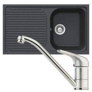 Schock Lithos D100 1.0 Bowl Onyx Black Granite Sink & Clearwater Creta Mixer Tap