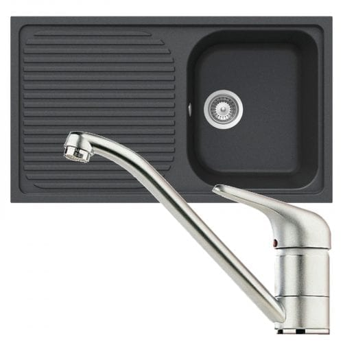 Schock Lithos D100 1.0 Bowl Onyx Black Granite Sink & Clearwater Creta Mixer Tap