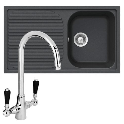 Schock Lithos D100 1.0 Bowl Onyx Black Granite Sink & Reginox Brooklyn Mixer Tap