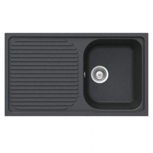 Schock Lithos D100 1.0 Bowl Onyx Black Granite Sink & Astracast TP0800 Tap