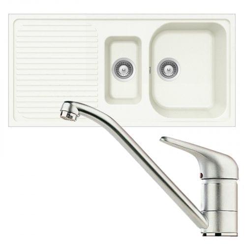 Schock Lithos D150 1.5 Bowl White Granite Kitchen Sink & Clearwater Creta Tap