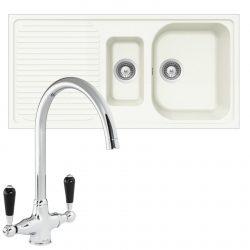 Schock Lithos D150 1.5 Bowl White Granite Kitchen Sink & Reginox Brooklyn Tap