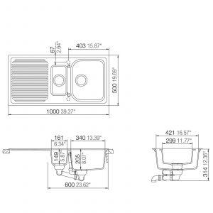 Schock Lithos D150 1.5 Bowl White Granite Sink & Astracast TP0800 Kuban Tap