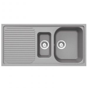 Schock Lithos D150 1.5 Bowl Grey Granite Kitchen Sink & Clearwater Creta Tap