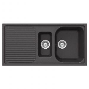 Schock Lithos 1.5 Bowl Nero Black Granite Kitchen Sink & Clearwater Creta Tap