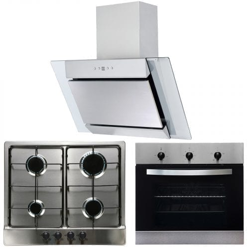 SIA 60cm Single Electric Fan Oven, 4 Burner Gas Hob & Angled Chimney Cooker Hood