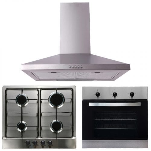 SIA 60cm Single Electric True Fan Oven, 4 Burner Gas Hob & Chimney Cooker Hood