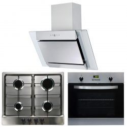 SIA 60cm Electric Fan Single Oven, 4 Burner Gas Hob & Angled Chimney Cooker Hood