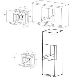 SIA 60cm Electric Fan Single Oven, 4 Burner Gas Hob & Angled Chimney Cooker Hood