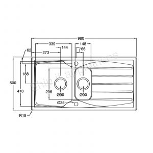 Astracast Sierra 1.5 Bowl Black Kitchen Sink & Astracast TP0800 Chrome Sink Tap