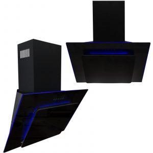 SIA 70cm 3 Colour LED Edge Lit Black Angled Glass Cooker Hood And 3m Ducting Kit
