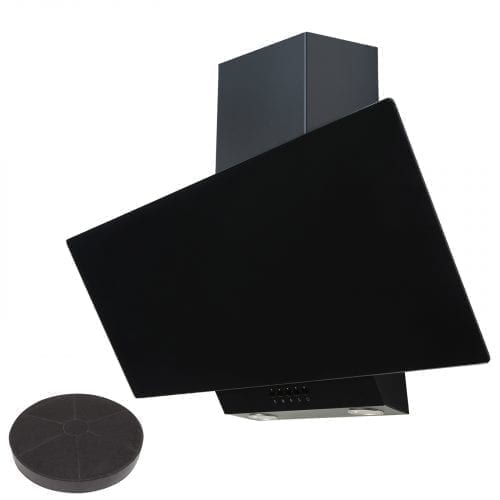 SIA EAG91BL Black 90cm Angled Glass Chimney Cooker Hood Kitchen & 3m Ducting Kit