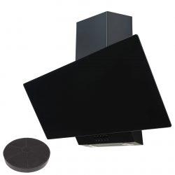SIA EAG91BL Black 90cm Angled Glass Chimney Cooker Hood Kitchen & Carbon Filter