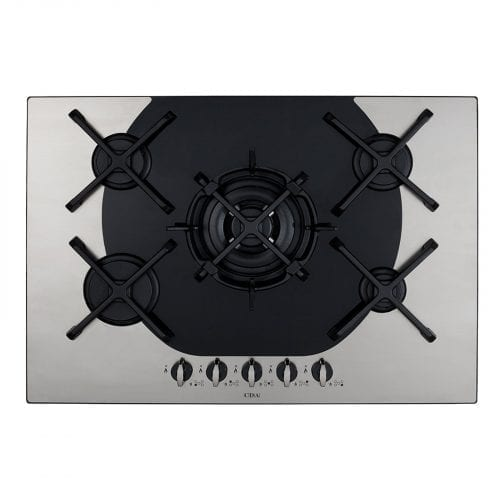 CDA 4Q5SS Q-style 72cm Five Burner Stainless Steel And Black Glass Gas Hob