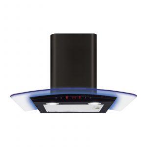 CDA EKP60BL 60cm Multi Colour LED Curved Glass Black Cooker Hood
