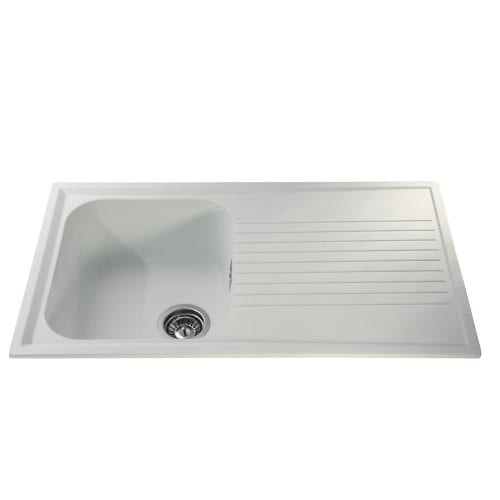 CDA AS1WH 1.0 Bowl Reversible Composite Kitchen Sink In White