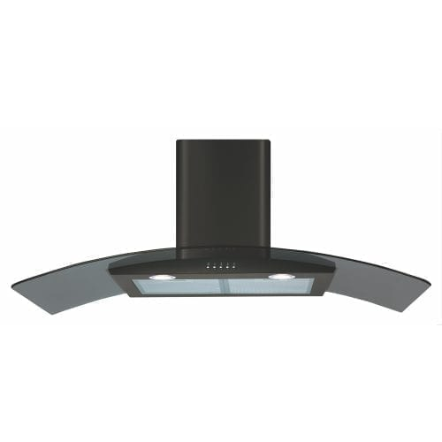 CDA ECP102BL 100cm Curved Glass Cooker Hood Extractor In Black