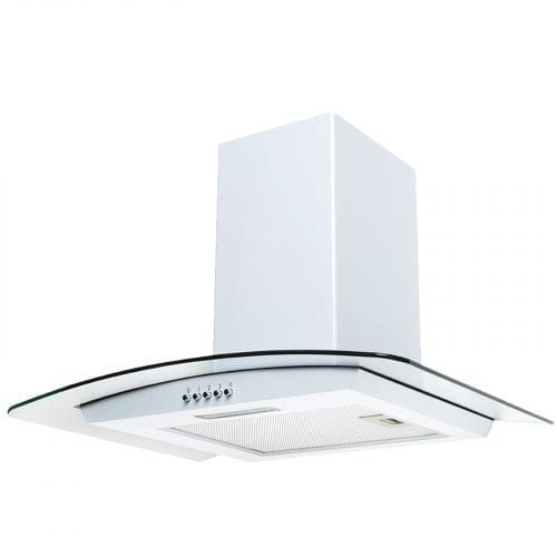 SIA CG61WH 60cm White Chimney Cooker Hood Curved Glass Kitchen Extractor Fan