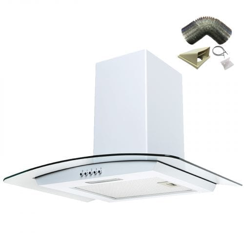 SIA CG61WH 60cm Curved Glass White Chimney Cooker Hood + 1m Ducting Kit