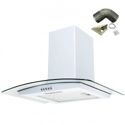 SIA 60cm White Chimney Cooker Hood Curved Glass Extractor Fan And 3m Ducting