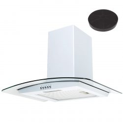 SIA 60cm White Chimney Cooker Hood Curved Glass Extractor Fan And Carbon Filter