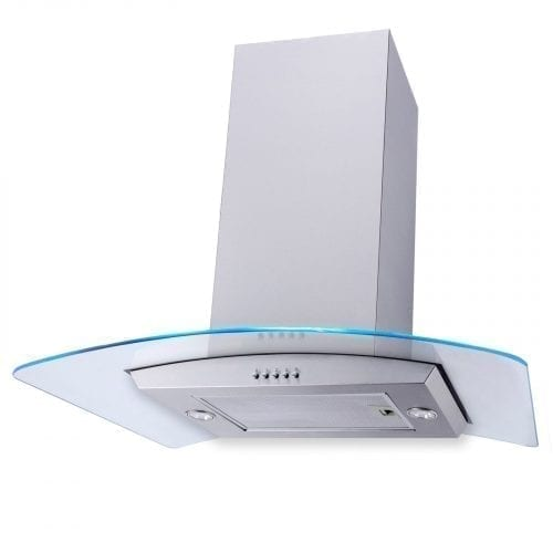 SIA 70cm 3 Colour LED Edge Lit Curved Glass Stainless Steel Island Cooker Hood