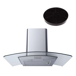 SIA 60cm Stainless Steel Curved Glass Cooker Hood Extractor Fan And Filter