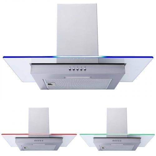 SIA 60cm Flat Glass Multi Colour LED Stainless Steel Cooker Hood Extractor Fan