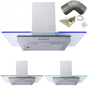SIA 60cm Stainless Steel LED Edge Lit Cooker Hood Extractor Fan & 3m Ducting Kit