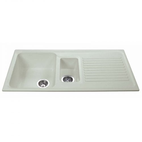 CDA AS2CM 1.5 Bowl Reversible Composite Kitchen Sink In Cream