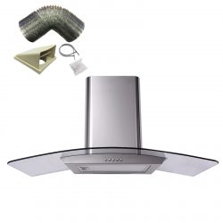 SIA CP101SS 100cm Stainless Steel Curved Glass Cooker Hood Fan And 1m Ducting
