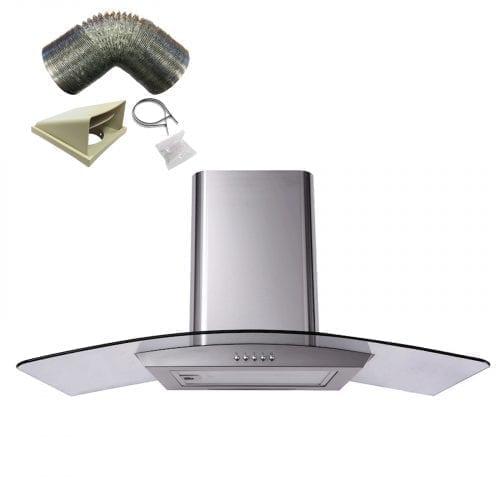SIA CP101SS 100cm Curved Glass St/Steel Cooker Hood Extractor Fan + 1m Ducting