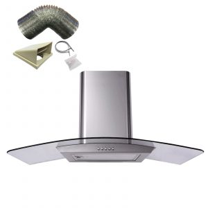 SIA CP101SS 100cm Stainless Steel Curved Glass Cooker Hood Fan And 3m Ducting