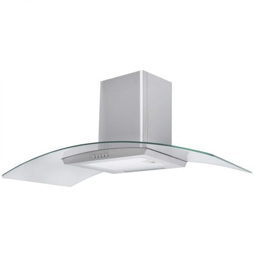 SIA CP101SS 100cm Curved Glass St/Steel Cooker Hood Extractor Fan And 3m Ducting