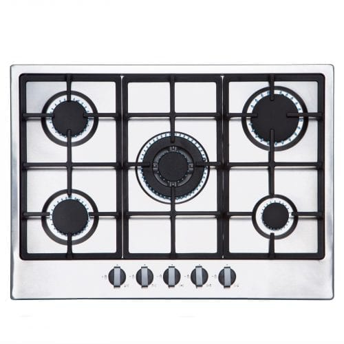 SIA 70cm 5 Burner Gas Hob In Stainless Steel | Wok Burner | Cast Iron Pan Stands