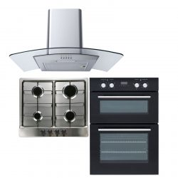 SIA DO102 Electric Double Oven, 60cm 4 Burner Gas Hob & Curved Glass Cooker Hood