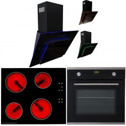 SIA 60cm Single Electric Oven, Ceramic Black Hob & LED Cooker Hood Extractor Fan