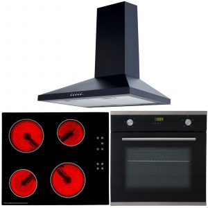SIA Single 60cm Electric Oven, Black Ceramic Hob & Chimney Cooker Hood Extractor