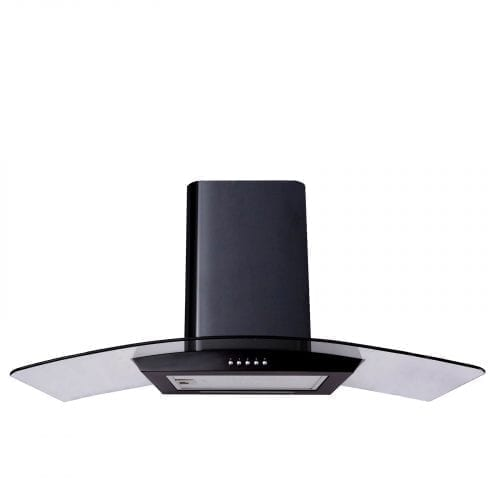 SIA CP101BL 100cm Designer Curved Glass Black Cooker Hood Extractor Fan