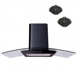 SIA CP101BL 100cm Black Curved Glass Cooker Hood Extractor Fan And Filters